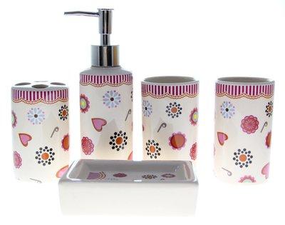 可愛陶瓷衛浴五件組 - 小紅心小紅花 - CBAS00093
