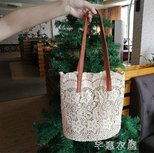 帆布包 新款韓版時尚仙女托特包蕾絲布輕復古ins超火包袋