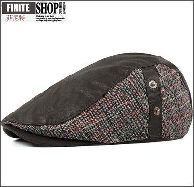 Finite-菲尼特-拼色撞色PU皮帽子 時尚秋冬季韓版潮個性男女嘻哈逛街鴨舌帽