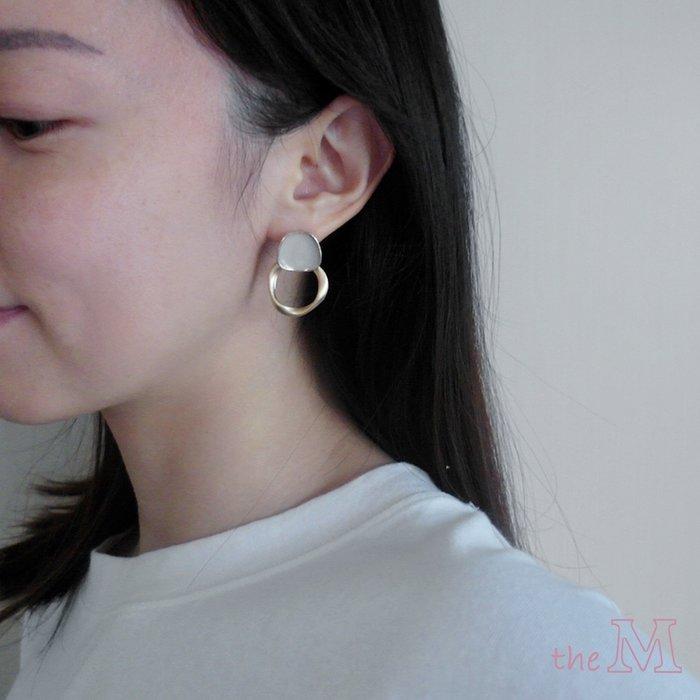 The M 正韓 奶茶色 霧金 圈圈耳環-兩色-抗過敏 鋼針