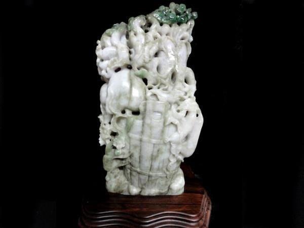 藏雅軒-早期收藏-緬甸玉雕刻擺件-花青帶紫-豐收