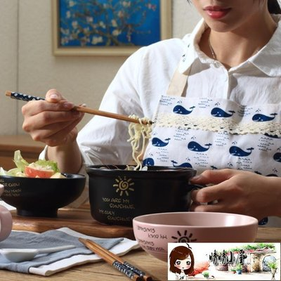 加大號陶瓷泡面杯碗帶蓋帶手柄方便面碗學生飯碗餐碗微波爐便當盒  【晴晴小屋】
