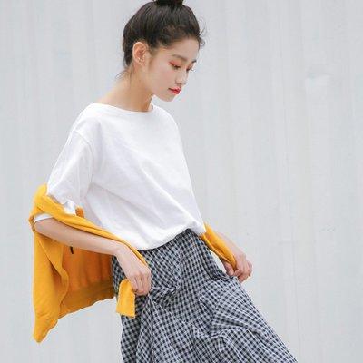 韓版寬松純色圓領短袖T恤女春夏新款2018百搭時尚學生顯瘦體恤衫