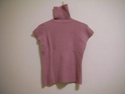 全新 MADE IN HONG KONG 粉嫩莓紫色溫暖細柔絨棉超彈性可翻褶式領口女短袖內搭衣毛衣