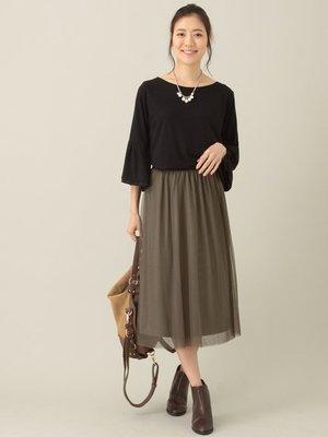 購於日本  綠色 鬆緊薄紗透膚紗裙  黑&綠 2色 Green Parks日幣3990+稅  KWD 1 長月