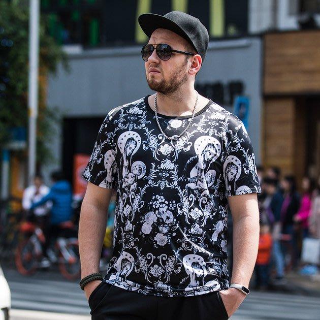 FINDSENSE品牌監製 大尺碼男裝 3D圖案滿版嘻哈短袖T恤薄款個性印花短袖夏季男大尺碼寬鬆透氣T恤速乾排汗T