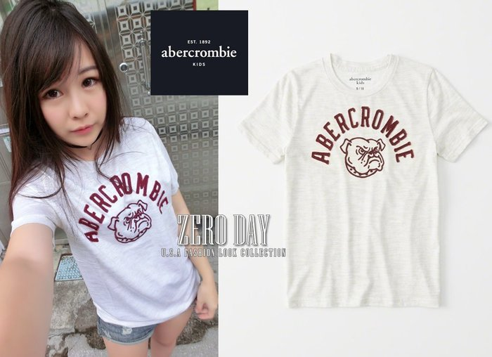 a&f美國真品abercrombie&fitch boy varsity logo graphic tee法鬥動物短t米