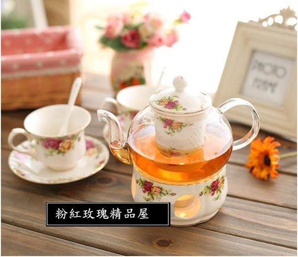粉紅玫瑰精品屋~小資田園玫瑰花玻璃茶具含加熱座水果花茶壼~現貨+預購