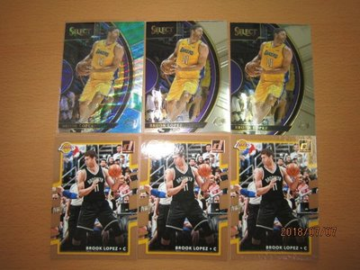 網拍讀賣~Brook Lopez~湖人隊球星~三色波紋閃亮卡~SELECT~普特卡~共6張~350元~輕鬆付~非常少見~