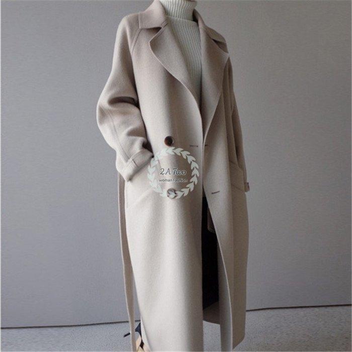 【2A Two】韓國🌿高質感 雙面毛呢 綁帶 收腰 修身 大衣 外套 『381013007』