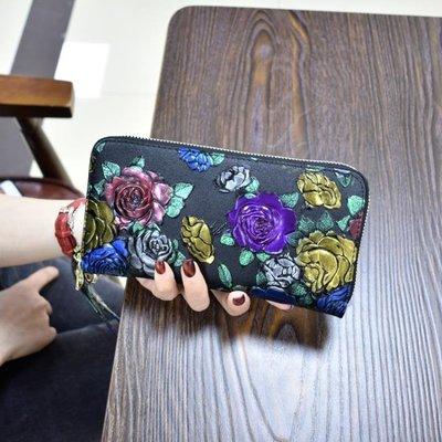新款女士錢包長款拉練錢夾皮質多功能皮夾復古大容量女手拿包