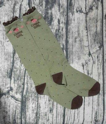 ♪瑋瑋城堡♪【可面交,近捷運】 綠色瓢蟲女孩襪 19-23公分最後一雙