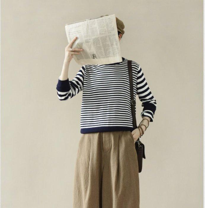 ||一品著衣|| 靜觀 | 長絨棉針織衫 橫條紋織物毛衣LR