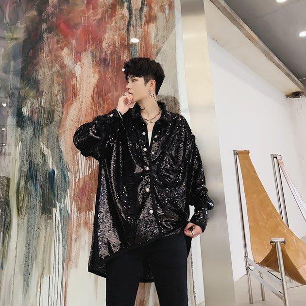 FINDSENSE 2019 秋季上新 G19 黑色簡約寬鬆潮流亮片襯衫外套寬鬆亮片長袖素面襯衫 男裝 上衣