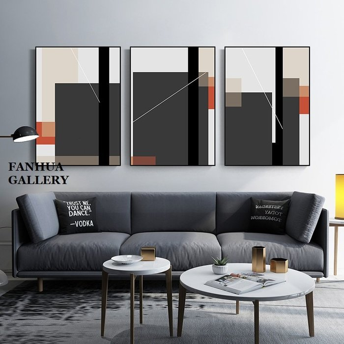 C - R - A - Z - Y - T - O - W - N 幾何抽象色塊線條三聯掛畫黑白彩色極簡時尚高端裝飾掛畫商業空間設計師款掛畫軟裝配置組合壁畫牆畫