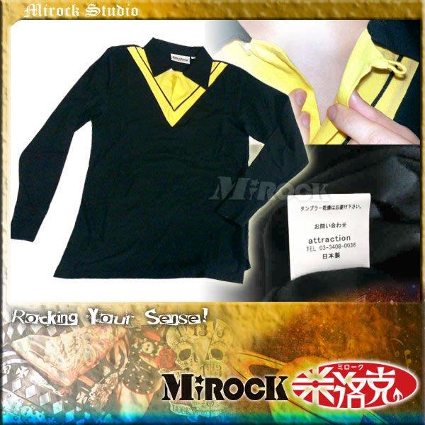MIROCK米洛克》【5折特賣】日本Attractions復古英倫假兩件式POLO衫大V領黑黃色長袖純棉T恤|限量1件