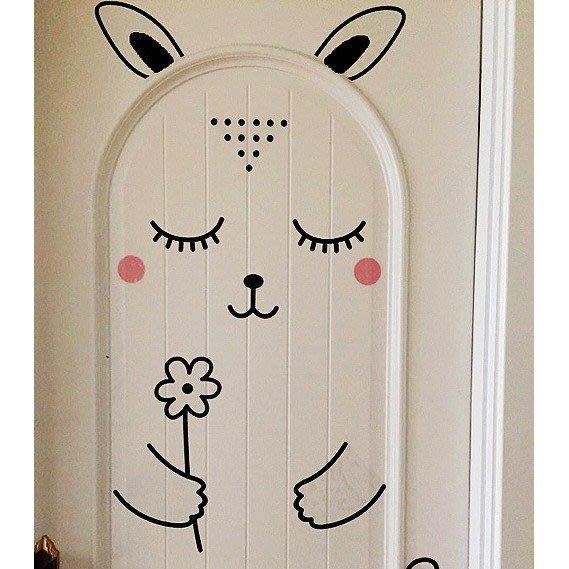 北歐創意牆貼紙臥室卡通門貼紙牆壁背景防水裝飾貼畫呆萌兔子
