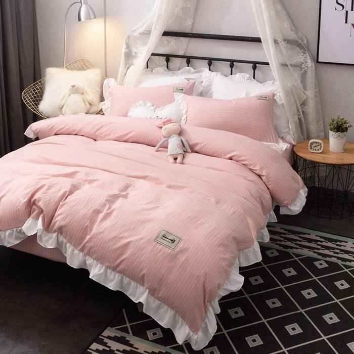 現貨 免運網紅 純色 水洗棉 1.8 四件套 公主風 精梳棉 少女心 床單 被套 ins風 床品