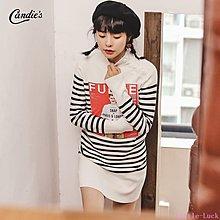 Little-Luck~ 高領正韓修身毛衣春裝2019新款時尚百搭打底白色條紋針織連身裙女