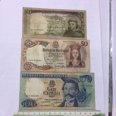 1964-65年葡萄牙舊版20、50、100escudos(3張合拍)