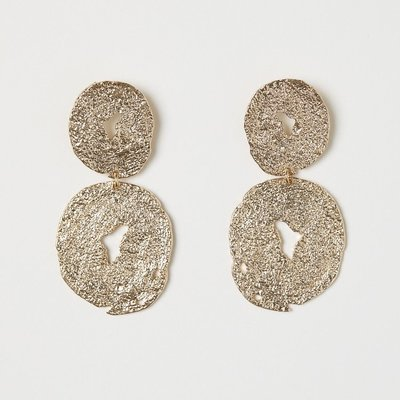 正品 H&M irregular-shaped gold-toned dangle earrings 不規則形金屬大耳環