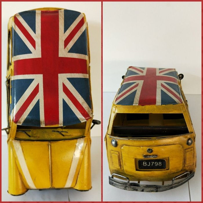 @3C 柑仔店@聖誕 交換 禮物 鐵製 奧斯丁小汽車 英國國旗 米字旗 黃 鐵皮 汽車 模型 家居飾品 懷舊 復古
