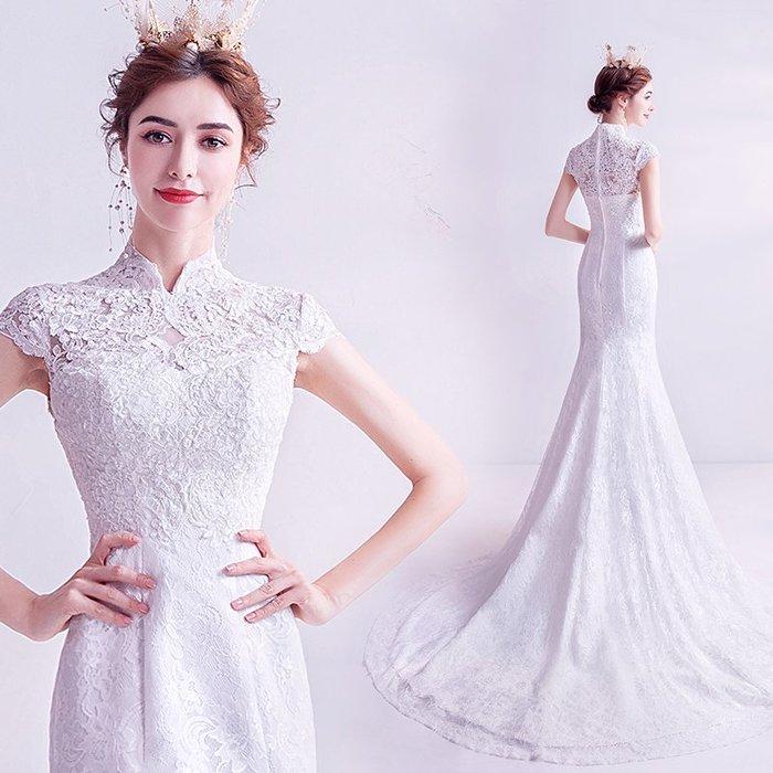 妞妞 婚紗禮服~超仙一字肩魚尾拖尾法式蕾絲新娘婚紗長禮服~3件免郵