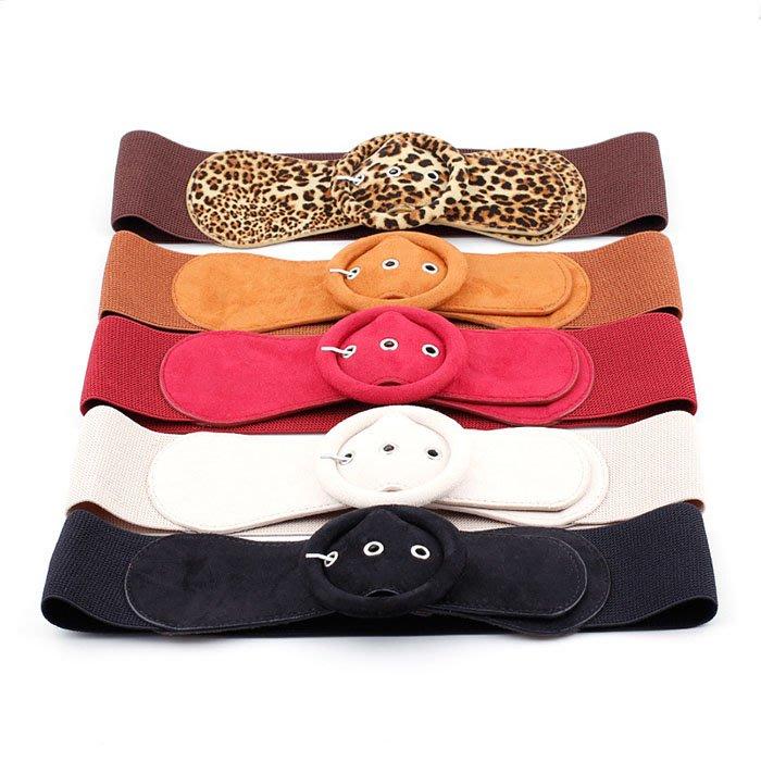 腰封皮帶 素色 圓環 針釦 豹紋 鬆緊 彈性 搭釦 百搭 寬版 腰封 腰帶【NRZ182】