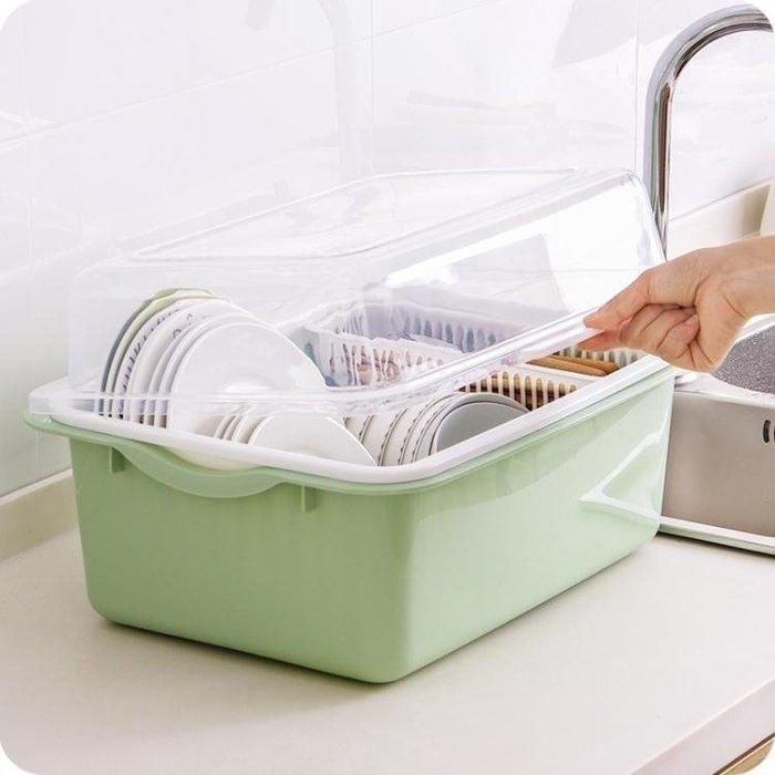 廚房瀝水碗架帶蓋塑料碗櫃碗筷餐具收納盒放碗碟架滴水碗盤置物架