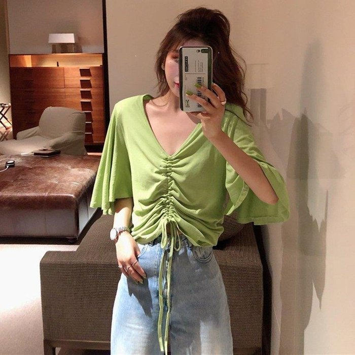 雨晴嚴選 百搭潮新款顯瘦設計感百搭寬松抽繩牛油果綠喇叭袖T恤百搭女裝YQ565