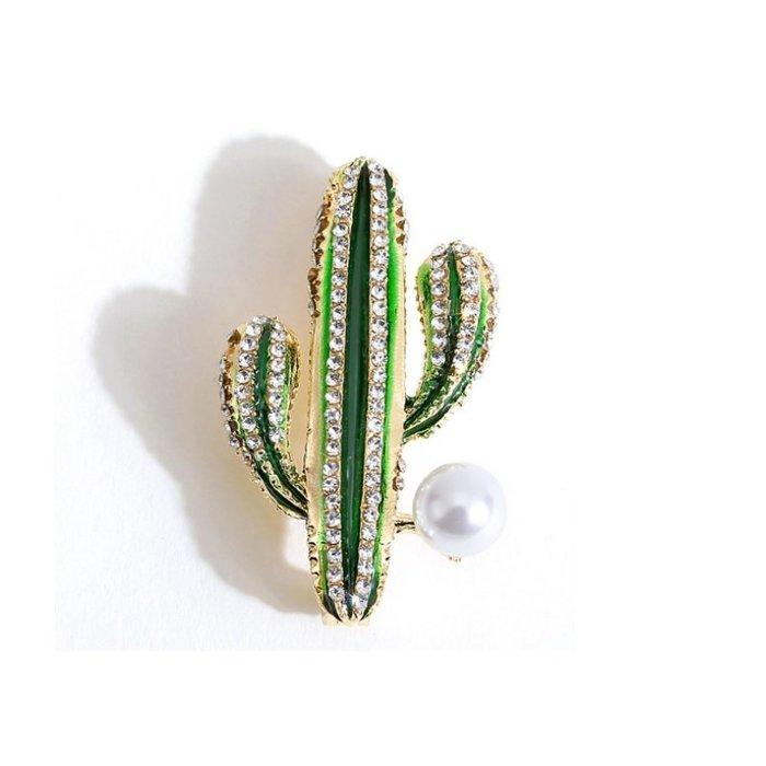 Natela仙人掌鋯石珍珠胸針別針飾品服裝配件禮品水鑽閃耀