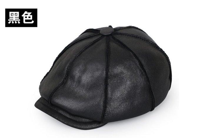 NYCT 韓國連線熱賣限定原創 高品質訂製 歐美百搭時尚必備款皮毛一體八角帽男士冬季加厚保暖休閒真皮帽子男明星同款帽子