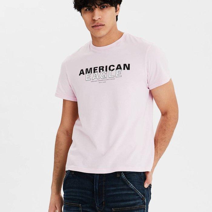 【現貨 XS S M L】AE 美國老鷹 經典老鷹字母LOGO圖案圓領短T 圓領T恤 短T
