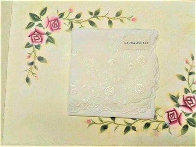 LAURA ASHLEY手帕 玫瑰 白  刺繡花 日本帶回