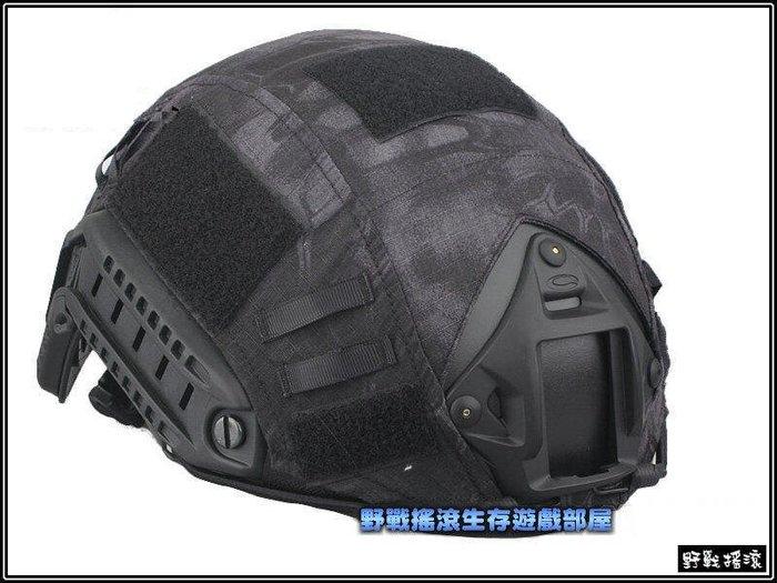【野戰搖滾-生存遊戲】高品質FAST 傘兵盔專用盔布【黑色蟒蛇紋迷彩】 黑蟒 FAST頭盔盔布OPS頭盔盔布戰術頭盔