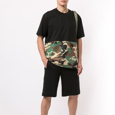 Blackbarrett camouflage-print panelled T-shirt 男迷彩印花拼接短T 限時折扣代購中