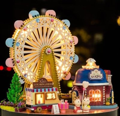 玩具 摩天輪送女孩八音盒天空之城DIY木質音樂盒女生生日禮物 創意手工情人節禮物 聖誕節交換禮物—莎芭