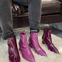 litterluck-韓國專櫃【設計師限定】Lux Seven 天生自帶神秘感的紫色女巫靴短靴女