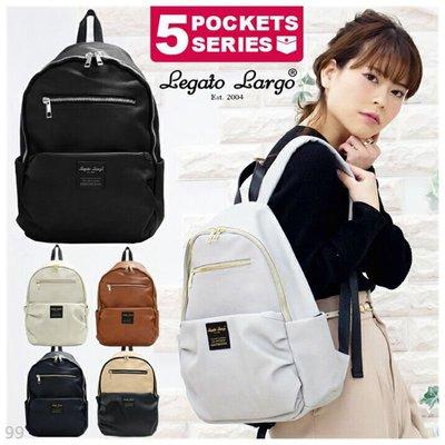 日本 Legato Largo 皮革 後背包 背包 媽媽包 拉鍊後背包 包包 女包 書包 通勤包 電腦包 雙肩包