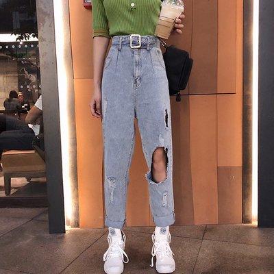 牛仔褲女破洞街拍款社會人漏洞韓版寬松港風男友風褲子酷