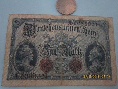 1914年5馬克,,A板,,品相一般,,9088021,T4