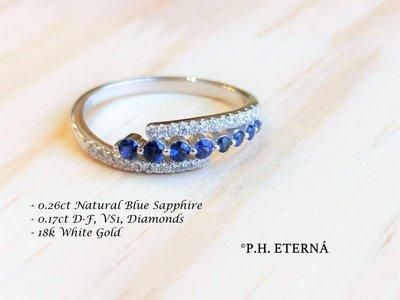 全新18K白金17份真鑽石及26份藍寶石戒指 | HK13號