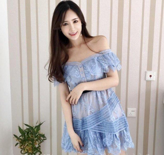 洋裝 明星同款一字領露肩藍色蕾絲修身顯瘦連身裙禮服—莎芭