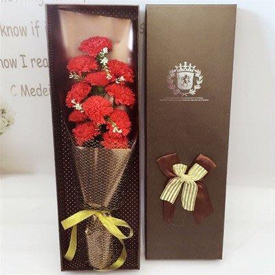 可代寫賀卡可代寄送 11朵仿真香皂康乃馨花束禮盒,創意母親節,教師節禮物,送媽媽老師創意禮品