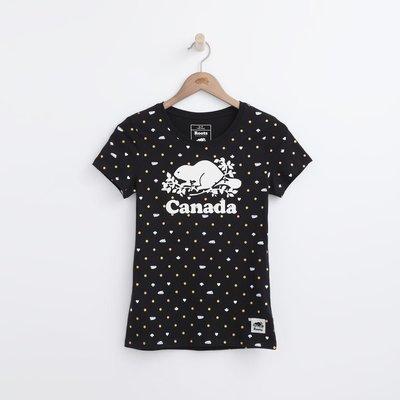 Look 鹿客 ROOTS女款(黑.紅)CANADA DAY系列滿版短袖T恤 RC04022479