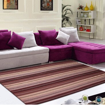 新款歐式現代時尚滿鋪純棉彩條地毯客廳沙發茶幾臥室床邊地墊170*230公分 七片咖
