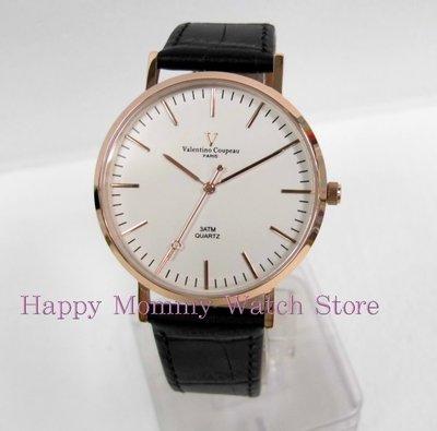 【 幸福媽咪 】valentino coupeau范倫鐵諾 簡約風格皮革錶帶 男錶 金色x白面 61576RG