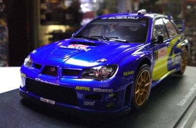 autoart 1/18。Subaru Impreza WRC 2007 #7。藍黃彩。原盒