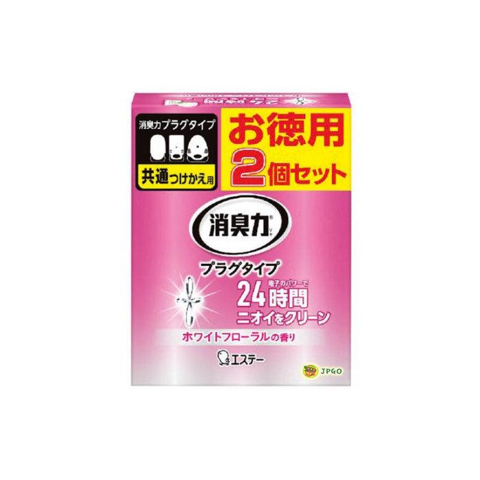【JPGO】日本製 ST 雞仔牌 插電式薰香瓶 插電芳香劑專用補充罐 2入組~白色花香#584