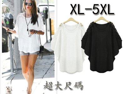 超大尺碼歐美時尚蕾絲蝙蝠袖寬松T恤 XL-5XL G292